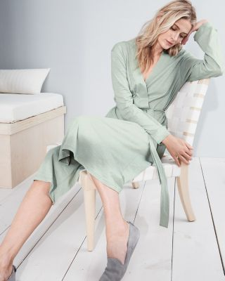 EILEEN FISHER Organic-Cotton Wide-Trim Robe