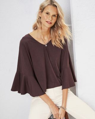 Bell-Sleeve V-Neck Knit Top