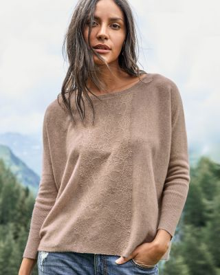 Lace-Inlay Cashmere Sweater