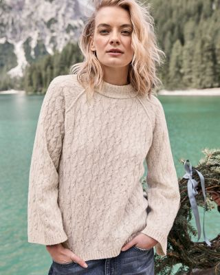 Cabled Bell-Sleeve Mock-Neck Merino Sweater