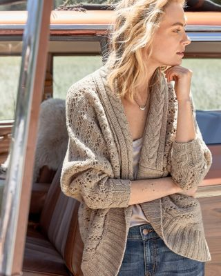 f28b2fd09badfb Ribbed-Sleeve Cocoon Merino Cardigan Sweater