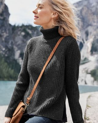 Faux-Layer Merino Turtleneck Sweater