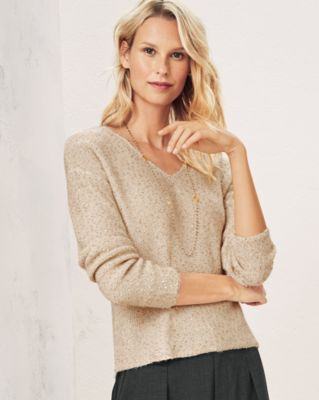 Sequined V-Neck Cropped Boxy Sweater