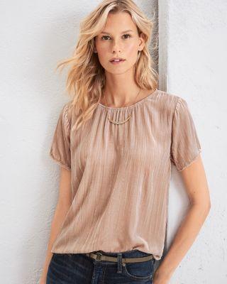 Garnet Hill Crinkled-Velvet Tee Shirt