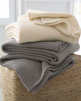 Woolmark Waffle-Weave Merino Wool Blanket