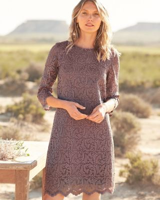 Garnet Hill Scoop-Neck Lace Dress