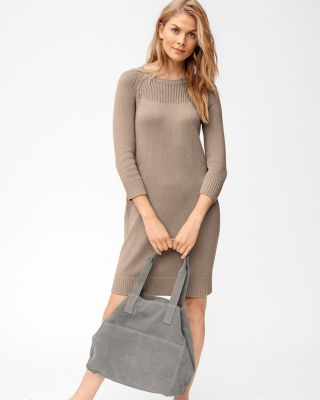 Cashmere & Cotton Rib-Detail Sweater Dress