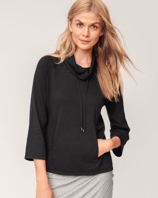 Organic-Cotton Cowl-Neck Sweater