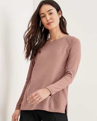Organic-Cotton Pointelle-Detail Sweater