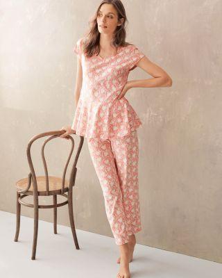 Organic-Cotton Peplum Pajamas