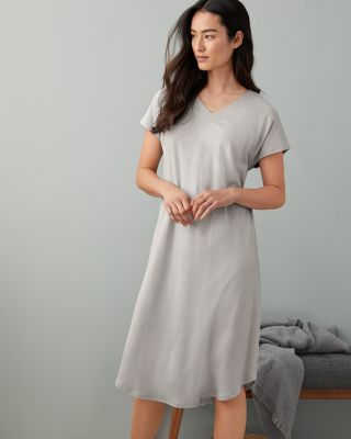 SAVE EILEEN FISHER Organic-Cotton Stitched-Trim Gown