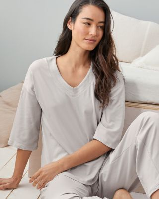 SAVE EILEEN FISHER Organic-Cotton Stitched-Trim Elbow-Sleeve Top