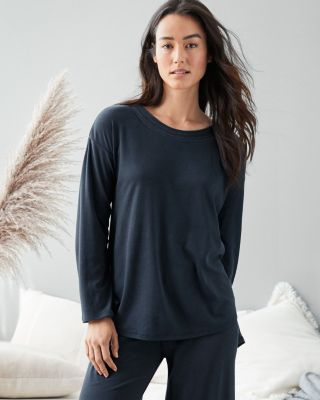 EILEEN FISHER Organic-Cotton Stitched-Trim Long-Sleeve Pajama Top