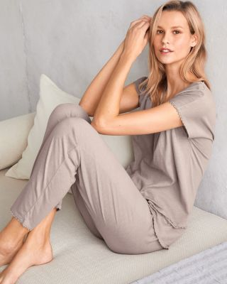 EILEEN FISHER Picot-Trim Cropped Pajamas