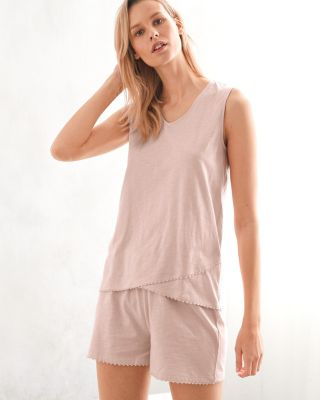 EILEEN FISHER Picot-Trim Knit Shorty Pajamas