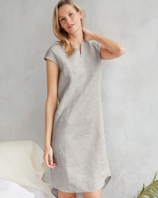 EILEEN FISHER Organic-Linen Split-Neck Gown