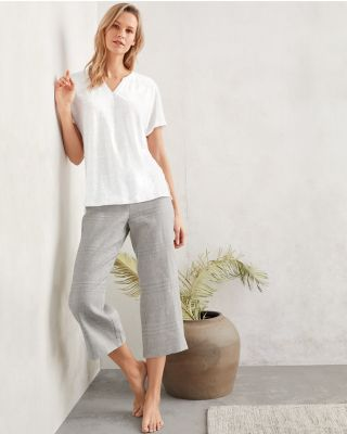 EILEEN FISHER Organic-Linen Split-Neck Pajamas