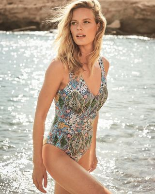 Ruched V-Neck One-Piece Swimsuit