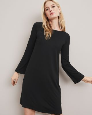 EILEEN FISHER TENCEL-Jersey Bell-Sleeve Dress Petite