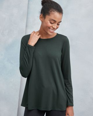 EILEEN FISHER TENCEL-Jersey Jewel-Neck Top