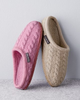 Haflinger Boiled Wool Cabled Slippers