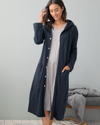EILEEN FISHER Organic-Cotton Stitched-Trim Robe