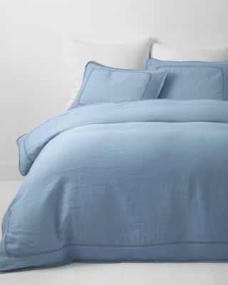 Crochet Embellished-Trim Relaxed-Linen Duvet Cover