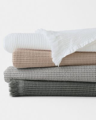EILEEN FISHER Organic-Cotton Waffle-Weave Blanket and Throw