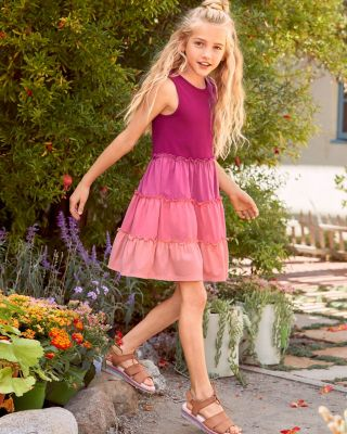 Girls' Organic-Cotton Tiered Tank Dress