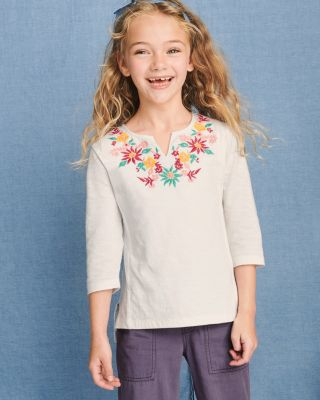 Girls' Embroidered Slubbed-Cotton-Knit Top