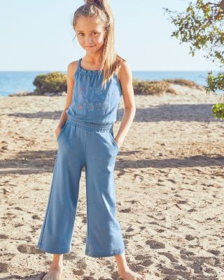 Girls' French Terry Wide-Leg Jumpsuit