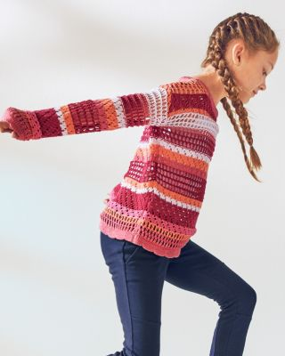 Girls' Openwork Organic-Cotton Pullover Sweater
