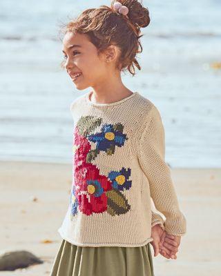 Girls' Organic-Cotton Graphic Sweater