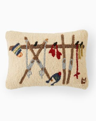 Ski Rack Hooked Wool Pillow