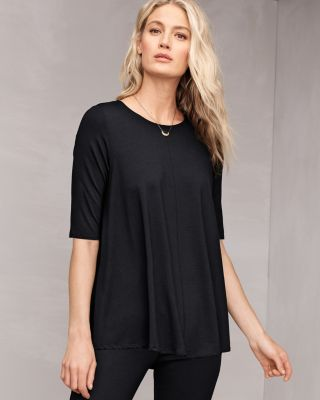 EILEEN FISHER Lightweight Viscose-Jersey Elbow-Sleeve Tunic Top