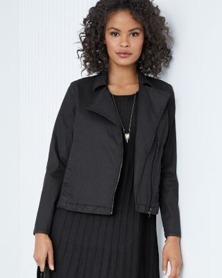 EILEEN FISHER Organic-Cotton Moto Jacket