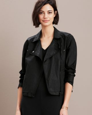 EILEEN FISHER Organic-Cotton Moto Jacket Petite