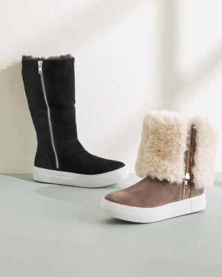 JSlides Faux-Fur Zip Boots