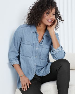 EILEEN FISHER Organic-Cotton Denim Shirt