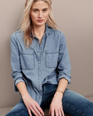 EILEEN FISHER Organic-Cotton Denim Shirt Petite