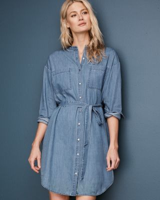 EILEEN FISHER Organic-Cotton Denim Dress