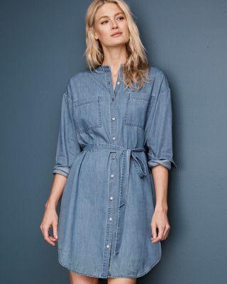 EILEEN FISHER Organic-Cotton Denim Dress Petite
