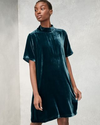 EILEEN FISHER Velvet Mock-Neck Dress