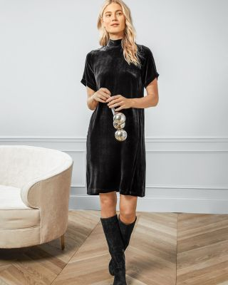 EILEEN FISHER Velvet Mock-Neck Dress Petite