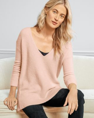 EILEEN FISHER Cashmere & Silk Bouclé V-Neck