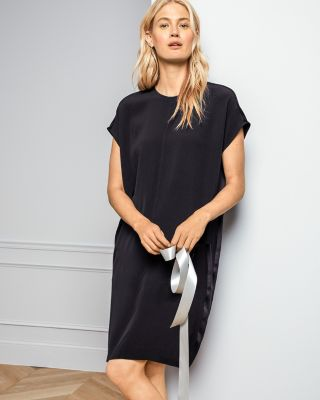 EILEEN FISHER Silk Crepe-Back Satin Short-Sleeve Dress