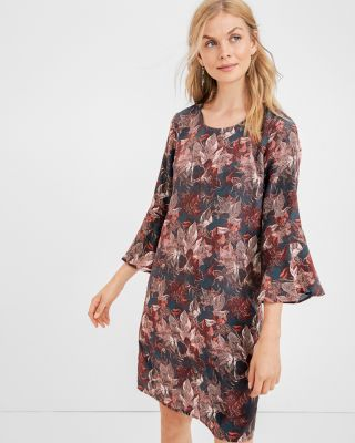 Bell-Sleeve Silk Dress