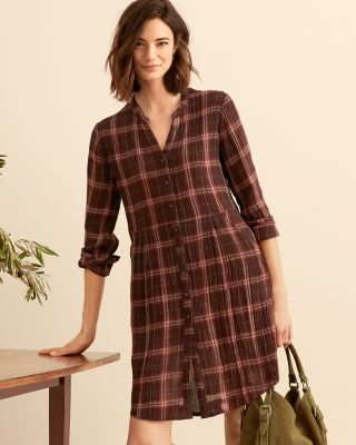 Gauze Plaid Shirtdress By Garnet Hill