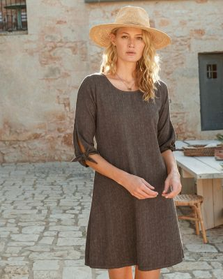 Tie-Sleeve Dobby Dress