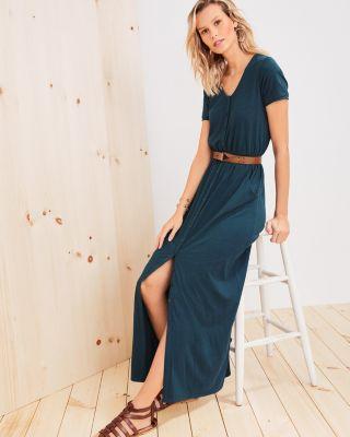 Button-Detail Knit Maxi Dress